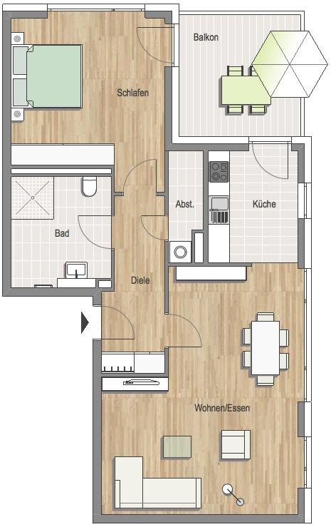 Grundrissbeispiel Penthouse-Wohnung